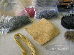 moose hide base, sinew, and beads I will be using